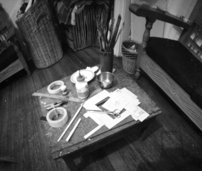 Bodegón en el taller, objetos