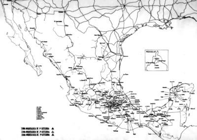 Mapa de las zonas arqueológicas de la República Mexicana