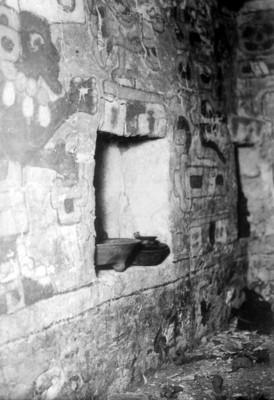 Detalle del nicho con la ofrenda de la Tumba 104, Monte Albán