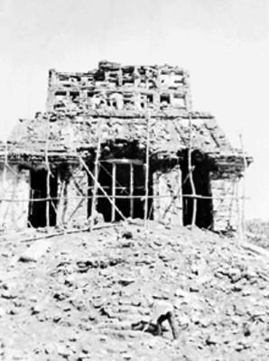 Vista de los trabajos de consolidación en el Templo del Sol