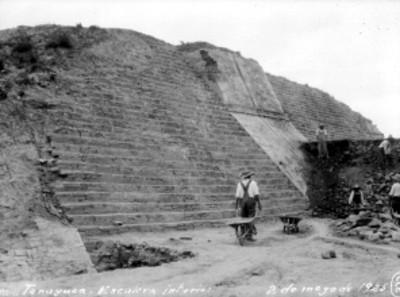Hombres trabajan en restauración de la pirámide de Tenayuca