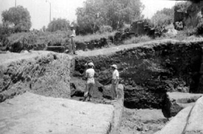 Vista de los trabajos de excavación en Cuicuilco