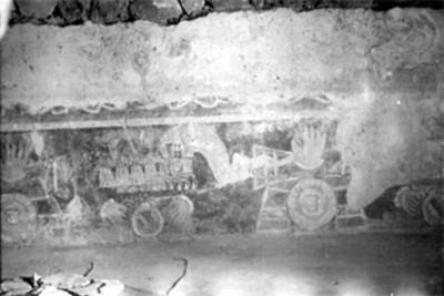 Fragmento de un mural en el Palacio de Atetelco, detalle