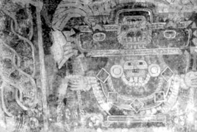 Mural 3 de Tetitla con la figura de una diosa de jade o Tláloc verde, procede del pórtico 11