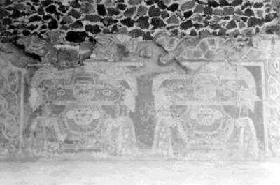 Mural que representa a las diosas de jade o Tláloc verde en Tetitla