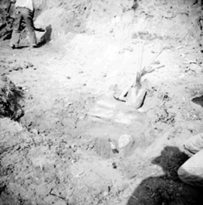 Detalle de una excavación arqueológica en Tamos