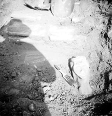 Vista de una escultura en forma de cabeza en excavación
