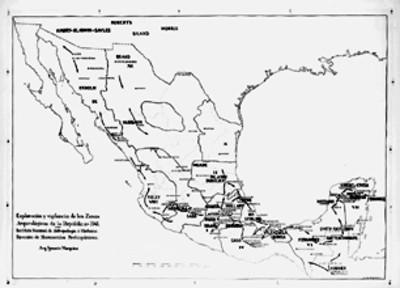 Mapa de las zonas arqueológicas exploradas en 1941