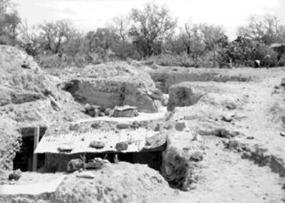 Vista de los trabajos de exploración y excavación arqueológica en Tetitla