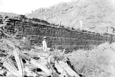 Trabajos de restauración de la Plataforma en Quiotepec