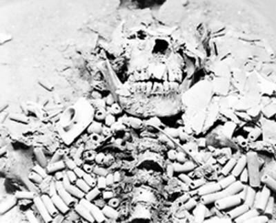 Esqueleto de Pakal in situ, detalle