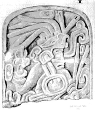 Dibujo de una lápida con la representación de un guerrero
