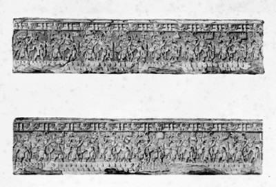 Relieves de la Piedra de Tízoc, litografía de Carl Nebel