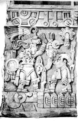 """Grupo de la piedra de Sacrificio"" detalle, litografía de Carl Nebel"