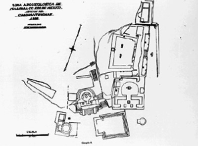 Ilustración del plano de Malinalco de José García Payón de 1939, reprografía