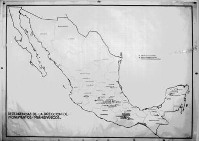 Mapa que muestra las zonas arqueológicas dentro de la república mexicana