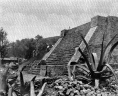 Vista de los trabajos de restauración en la Pirámide de Santa Cecilia