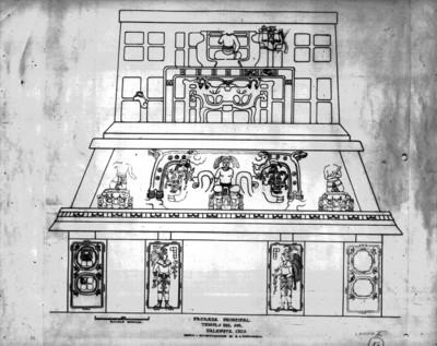 Dibujo de la fachada principal del Templo del Sol