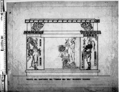 """""""Frente del santuario del Templo del Sol"""", dibujo"""