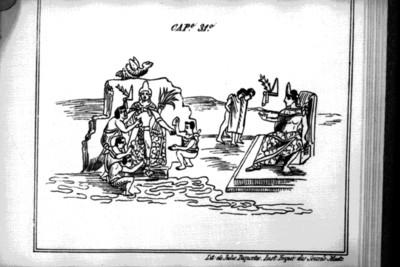 Códice Durán, Moctezuma se hizo esculpir en una peña en el cerro de Chapultepec, reprografía