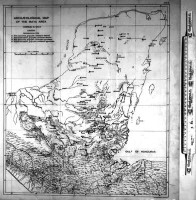 Mapa de las zonas arqueológicas del área Maya, reprografía