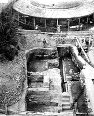 Vista de los trabajos de exploración y excavación en el Templo Mayor