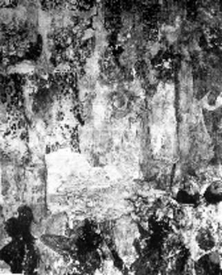 Muro norte en el cuarto 2, acercamiento, reprografía