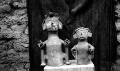 Cerámica antropomorfa y con la representación del dios de la lluvia