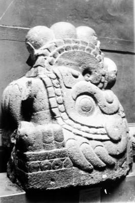 Cabeza de Xiuhcoatl esculpida en piedra