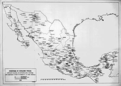 Carta arqueológica de México que muestra las principales zonas arqueológicas del país, reprografía
