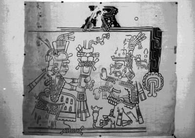Pintura prehispánica con la representación del dios Cocijo