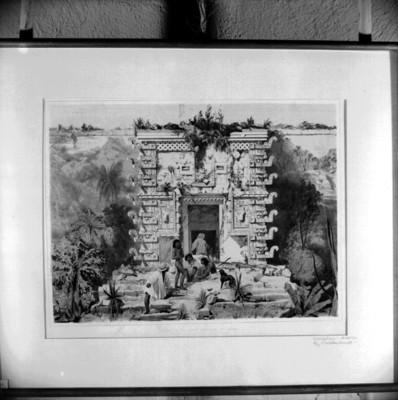 Lámina 11 La Puerta del Gran Teocalis de Uxmal, reprografía bibliográfica