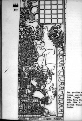 Dibujo del Dintel en el Templo IV de Tikal, reprografía