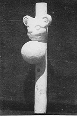 Flauta de doble fuelle con efigie de jaguar, reprografía