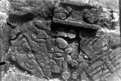 Detalle de una banca en la Pirámide del Tepozteco, reprografía