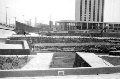Vista de los trabajos de remodelación en la zona arqueológica de Tlatelolco