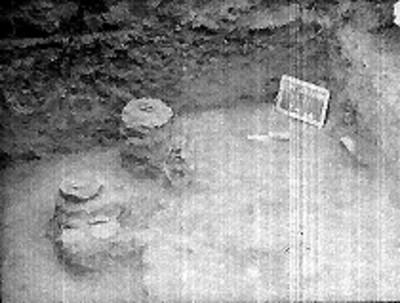 Vista del hallazgo de un entierro prehispánico