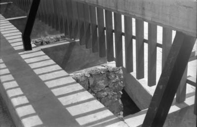 Detalle de la cerca perimetral en la zona arqueológica de Tlatelolco