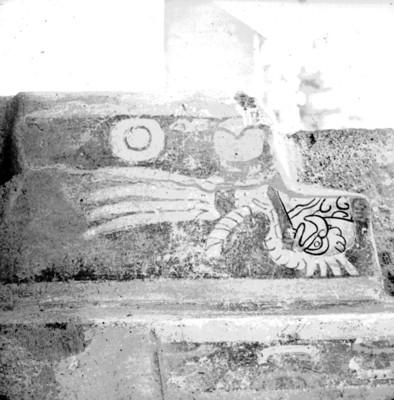 Detalle de la parte superior de un mural en el Palacio de Atetelco