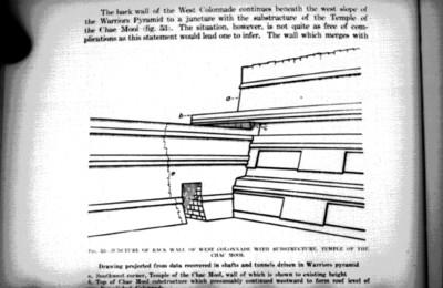 Ilustración del Templo de los Guerreros en Chichén Itzá, reprografía