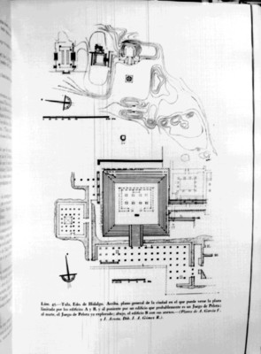 Plano general de Tula y detalle del Edificio B del libro Arquitectura Prehispánica