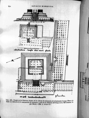 """""""Templo de los Guerreros después de los trabajos de restauración de la Institución Carnegie"""", reprografía bibliográfica"""
