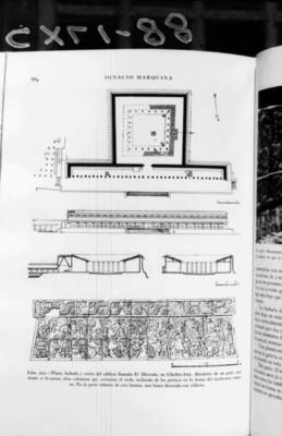 """""""Plano, fachada y cortes transversales del edificio llamado El Mercado y una banca decorada con relieves"""", reprografía bibliográfica"""