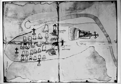 """""""Mapa de Santa María Zozopaztépec sujeto de Xuchitepec, Oaxaca 1570"""", reprografía bibliográfica"""