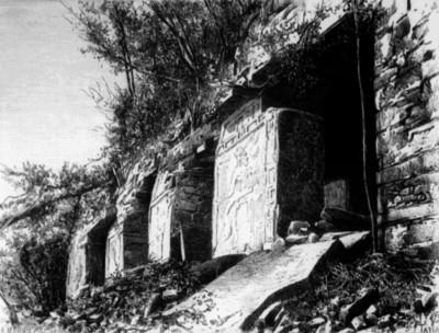 Litografía del Templo de las Inscripciones, vista parcial, reprografía