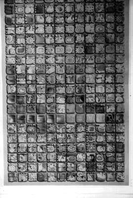 Litografía de un tablero con glifos de Palenque, reprografía