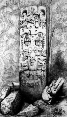 Litografía de una estela maya, reprografía