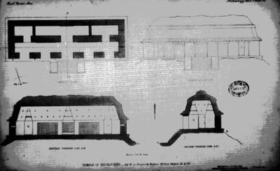 Plano de las distintas elevaciones del Templo de las Inscripciones, reprografía