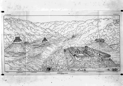 Ilustración de la zona arqueológica de Palenque, reprografía