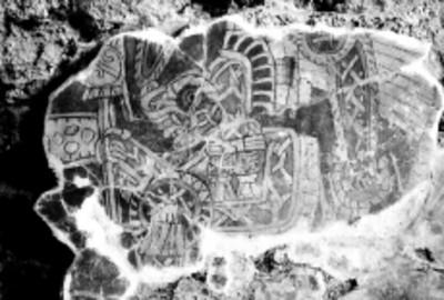 Detalle de un mural de Tetitla con la imagen de un hombre jaguar arrodillado frente a un templo, reprografía